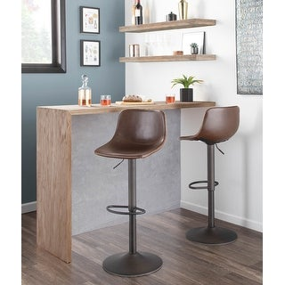 Link to Carbon Loft Richard Adjustable Faux Leather Bar Stool - Set of 2 Similar Items in Dining Room & Bar Furniture