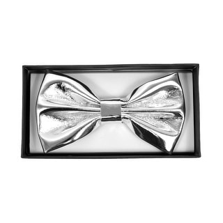 Men's Metallic Solid Banded Bow Tie - One size