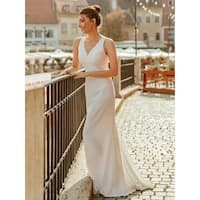 Ever-Pretty Women's Lace White Formal Evening Party Wedding Dress with Train 07385