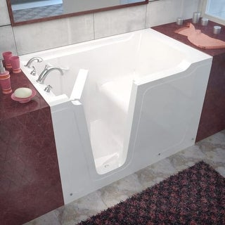 "Avano AV3660LS Walk-In Tubs 59-3/4"" Gel Coated Soaking Bathtub for Alcove Installations with Left Drain, Roman Tub Faucet and"