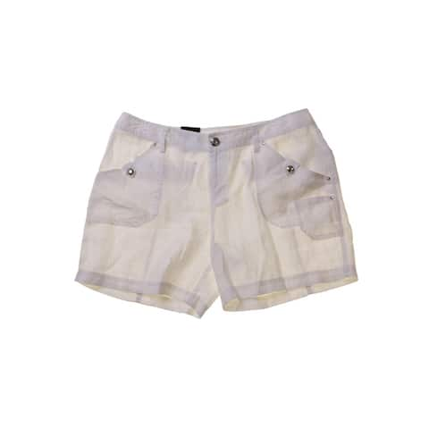 Inc International Concepts Bright White Linen Shorts 0