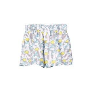 Azul Boys Khaki Lemon Fish Print Elastic Band Drawstring Swim Shorts