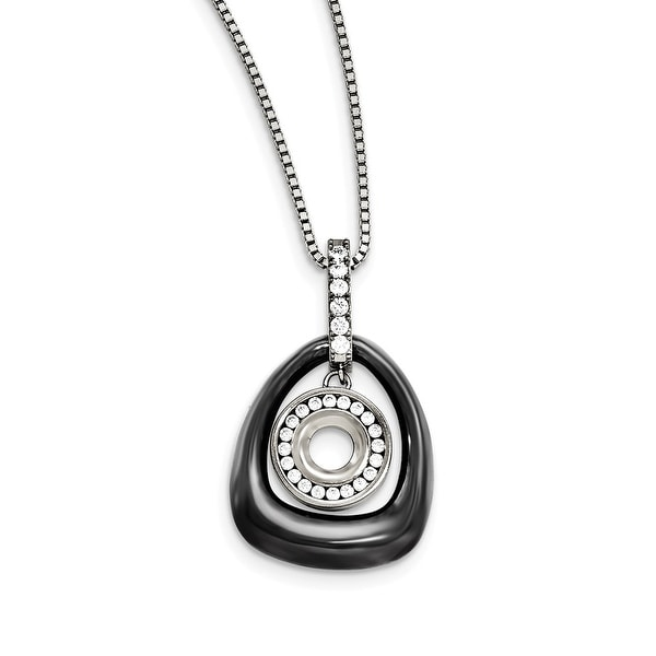 Chisel Polished Ceramic with Cubic Zirconia Titanium Pendant on Steel Necklace. Opens flyout.