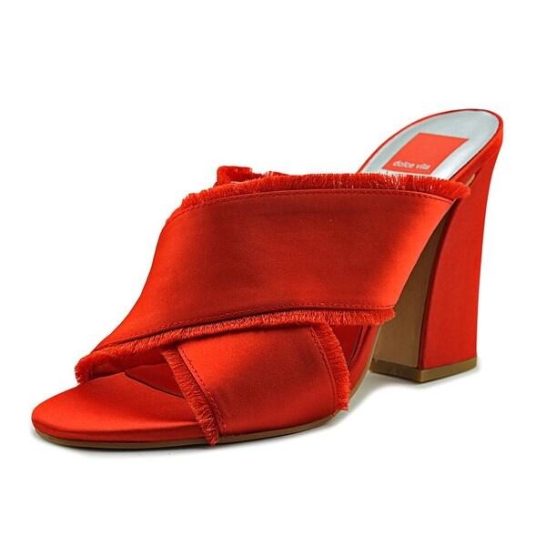 Dolce Vita Henry Women Open Toe Canvas Orange Slides Sandal