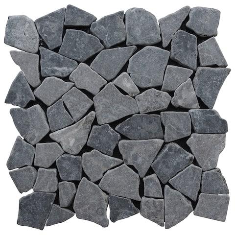"Miseno MT-R3 Fit Mosaic - 11-3/8"" x 11-3/8"" Pebble Floor and Wall Mosaic Tile - Tumbled Basalt Visual -"