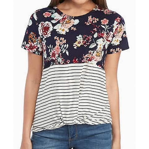 Eyeshadow Top Blue Size Large L Junior Knit Floral Stripe Contrast