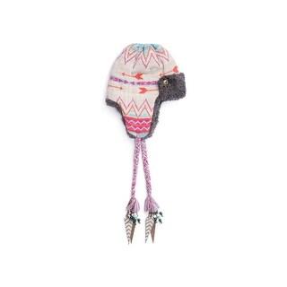 Muk Luks Hat Womens Fairisle Trapper Rope Tassel O/S Pearl 0034532