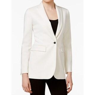 Anne Klein NEW White Women's Size 2 Long Peak Lapel One Button Blazer