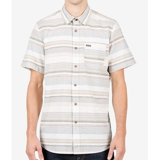 Volcom NEW Egg Beige Mens Size Large L Button Down Striped Shirt