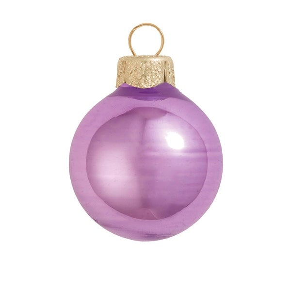 "40ct Shiny Soft Lavender Purple Glass Ball Christmas Ornaments 1.25"" (30mm)"