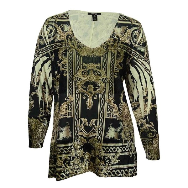 Style & Co Women's Printed V-Neck Tunic Blouse - Black