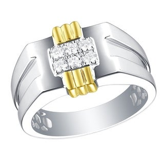 Prism Jewel 0.32Ct G-H/I1 Natural Diamond Men's Two-Tone Gold Wedding Ring