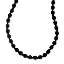 Black IP Black Glass Bead Necklace - 24in