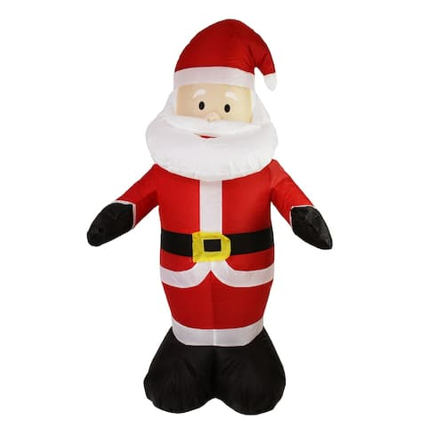 """48"""" Red and White Inflatable Santa Claus LED Lighted Christmas Outdoor Decor"""