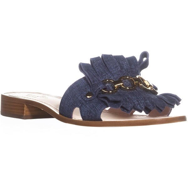 kate spade new york Brie Slide Sandals, Blue Denim Suede - 9.5 us