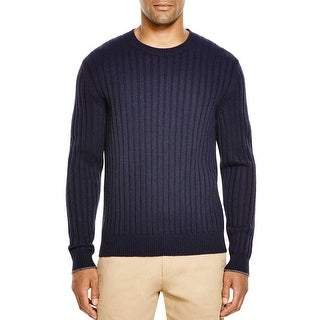 Bloomingdales Mens 2-Ply Cashmere Crewneck Ribbed Sweater X-Large Navy Knitwear