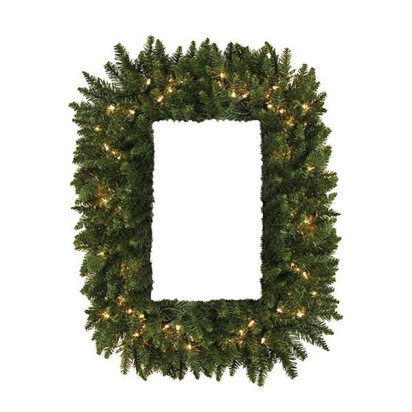 """36"""" Pre-Lit Camdon Fir Rectangular Artificial Christmas Wreath -Clear LED Lights - green"""