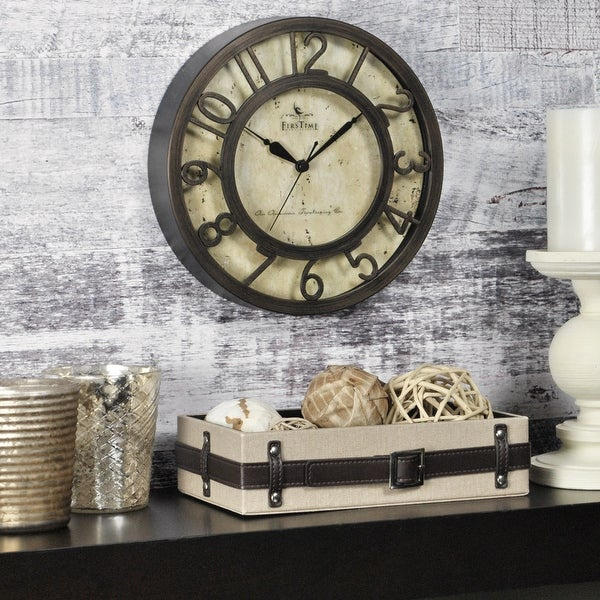FirsTime & Co.® Raised Number Wall Clock, American Crafted, Oil Rubbed Bronze, Plastic, 8 x 2 x 8 in - 8 x 2 x 8 in. Opens flyout.