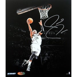 Paul Pierce Signed Brooklyn Nets Jumping Toward Basket Dark Background 16x20 Photo