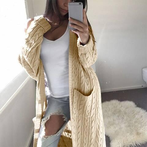 Women's Long Double Pocket Twist Sweater Cardigan
