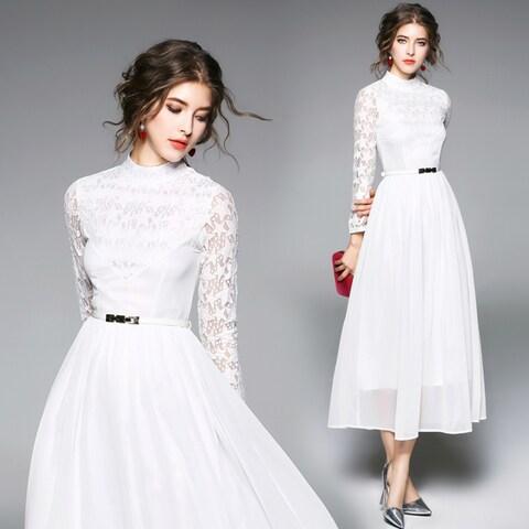 Hollow Out White Chiffon Dress with Belt