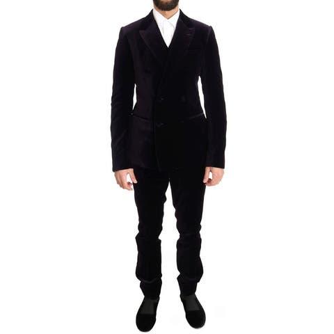 Dolce & Gabbana Purple Velvet Slim Fit Double Breasted Men's Suit - it48-m