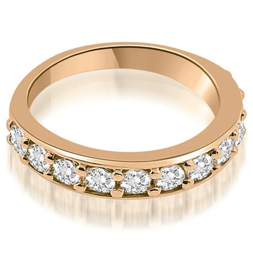1.10 cttw. 14K Rose Gold Classic Prong Set Round Cut Diamond Wedding Band