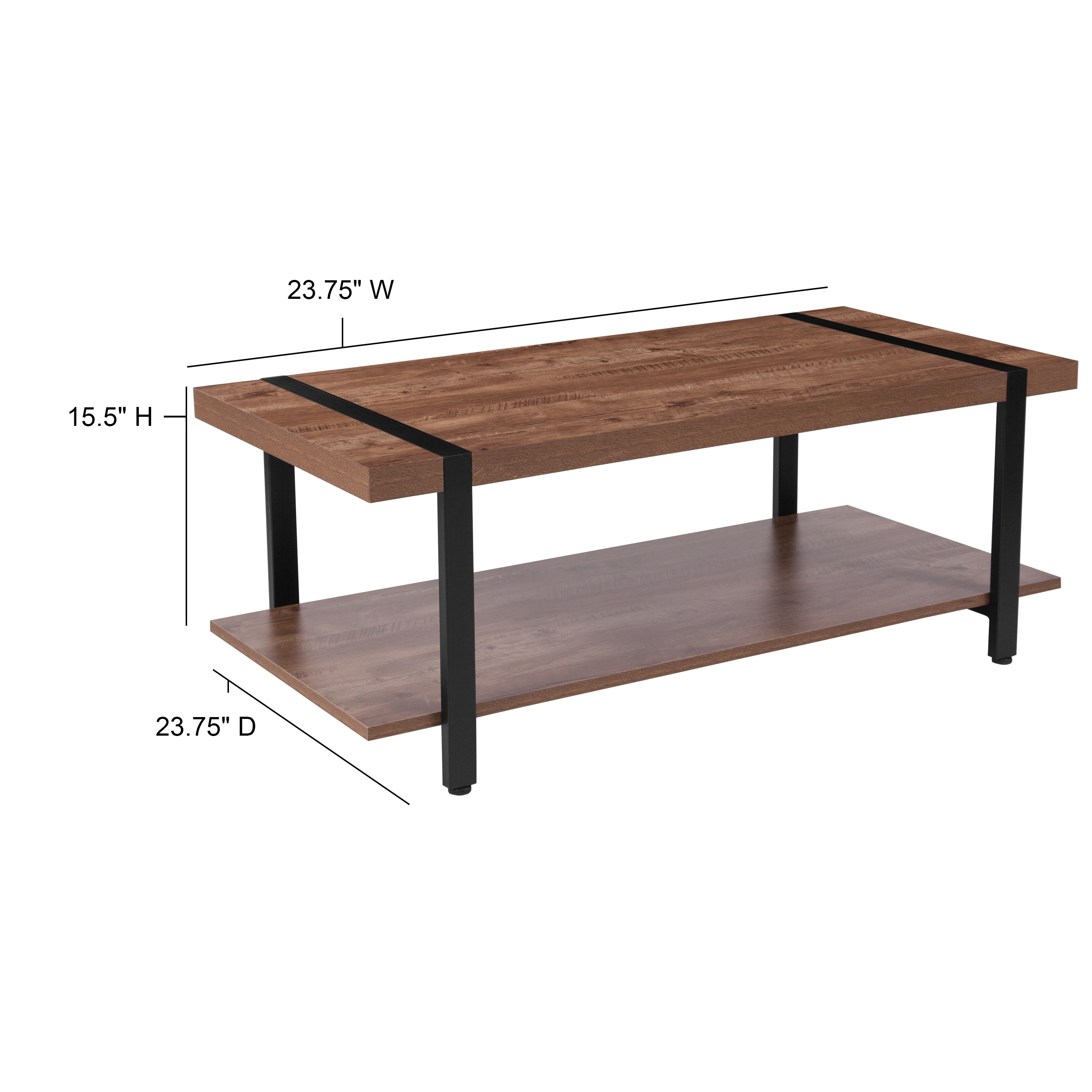 - Shop Rustic Wood Grain Finish Coffee Table With Black Metal Legs