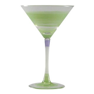 Set of 2 Green Retro Stripe Hand Painted Martini Drinking Glasses - 7.5 Ounces