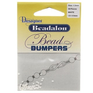 Beadalon Bead Bumpers, Round Silicone Spacers 1.5mm, 50 Pieces, White