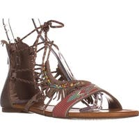 Jessica Simpson Kyndalle Flat lace-Up Sandals, Warm Taupe