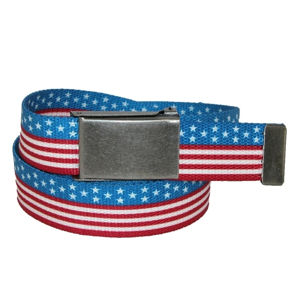 CTM® Men's 1.25 Inch USA Stars and Stripes Adjustable Belt - Red - One size