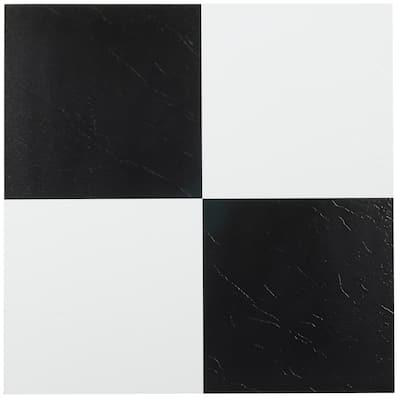 Achim Sterling Black-White 12x12 Vinyl Floor Tile (45 Tiles/45 sq ft)