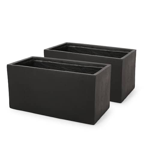 Ella Outdoor Modern Cast Stone Rectangular Planters (Set of 2) by Christopher Knight Home