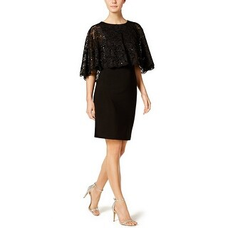 Jessica Howard Lace Capelet Sheath Cocktail Dress