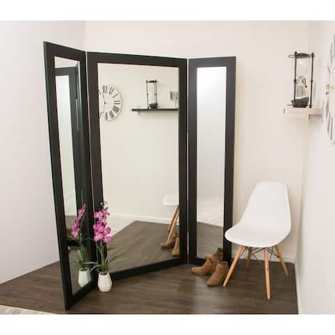 BrandtWorks Full Body Modern Black Trifold Mirror