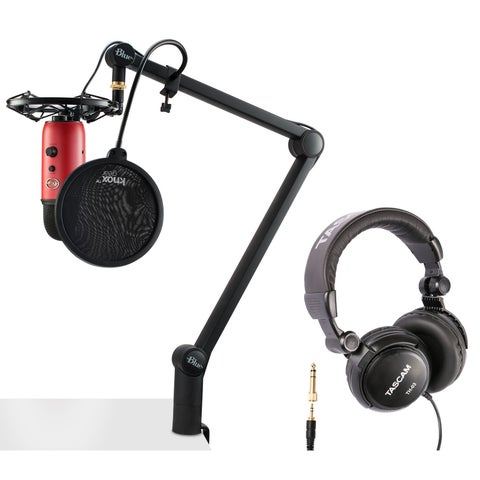 Blue Microphone Yeti (Red) with Compass, Radiuss III, Pop Filter and Headphones