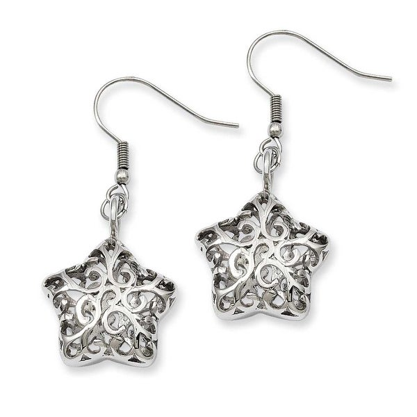 Stainless Steel Small Puffed Star Dangle Earrings
