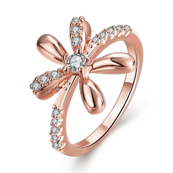 Orchid Floral Rose Gold Inspired Ring