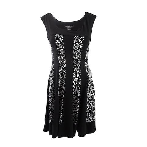 Connected Women's Petite Dot-Panel A-Line Dress (10P, Black) - Black - 10P