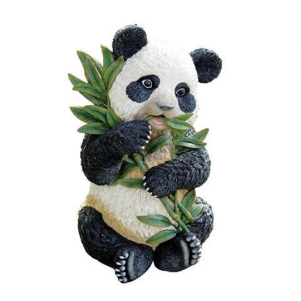 Shop 20 Baby Asian Panda Eating Bamboo Statue On Sale Overstock 29612889