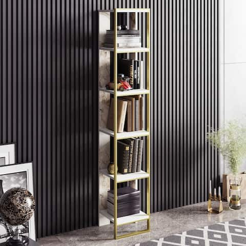 Decorotika Polka 70'' Tall Metal Wood Bookcase with 5 Tier Shelf