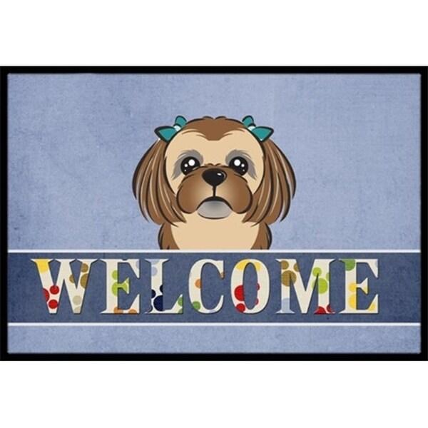 Carolines Treasures BB1435JMAT Chocolate Brown Shih Tzu Welcome Indoor & Outdoor Mat 24 x 36 in.