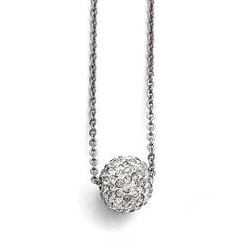 Chisel Stainless Steel Polished White Enamel with Crystals with 2in ext. Necklace - 16 in