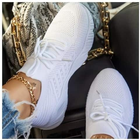 Weave Lace Up Breathable Sneakers