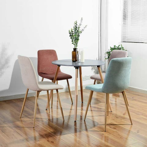 Round Dining Table In Adjustable Beech Wood Legs - Grey
