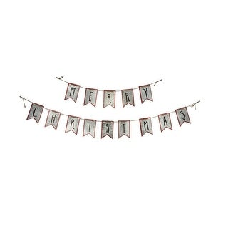 2-Piece Metal Merry Christmas Hanging Banner Decoration