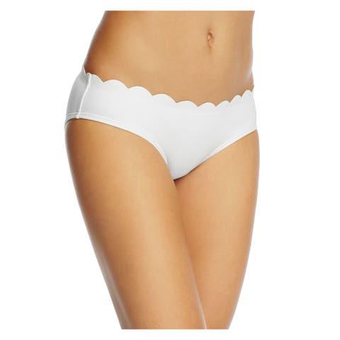KATE SPADE Women's White Scalloped Hipster Swimwear Bottom L