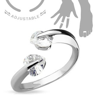 Tension Heart CZs Adjustable Toe Ring/Mid Ring (Sold Ind.)
