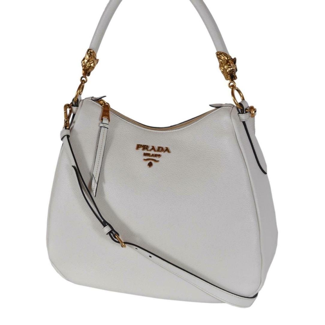 Prada 1bc089 White Vitello Phenix Tiger Head Hardware 2 Way Purse Hobo Bag Off